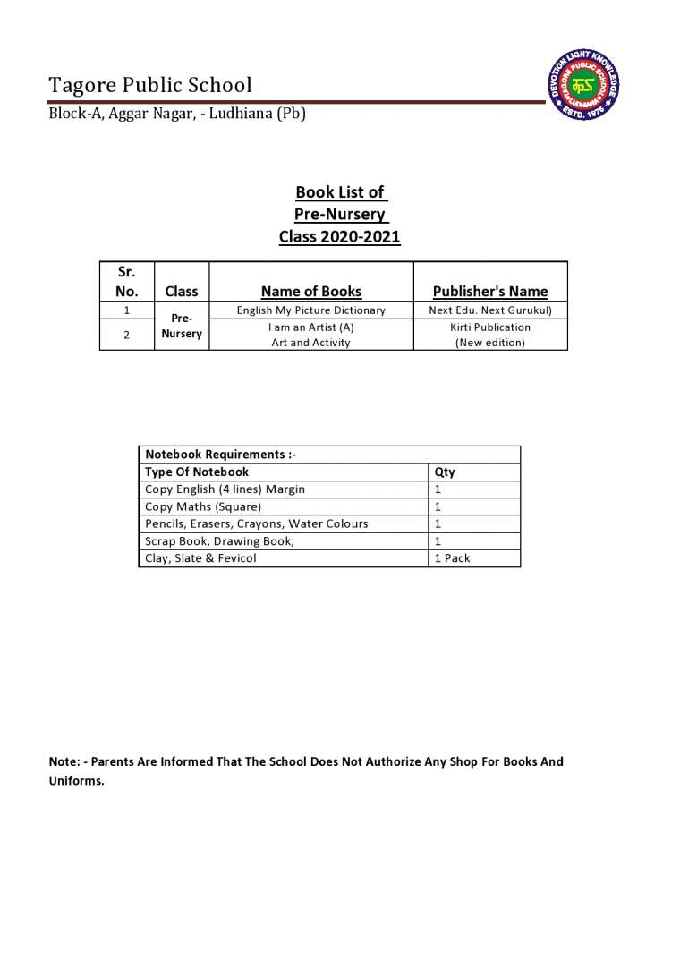 Book List of Pre-Nursery Class 2020-2021