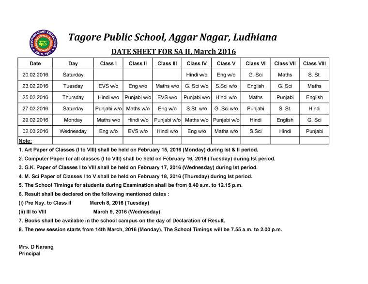 DATE SHEET FOR SA II, March 2016